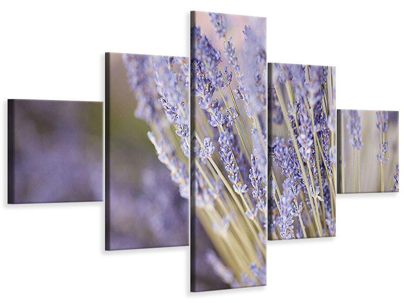 Leinwandbild 5-teilig Lavendel XXL