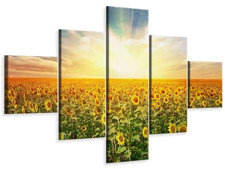 Leinwandbild 5-teilig Ein Feld voller Sonnenblumen