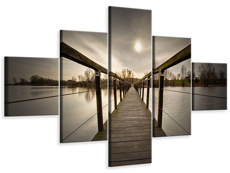 Leinwandbild 5-teilig Die Holzbrücke
