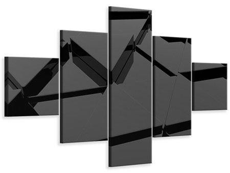 Leinwandbild 5-teilig 3D-Dreiecksflächen