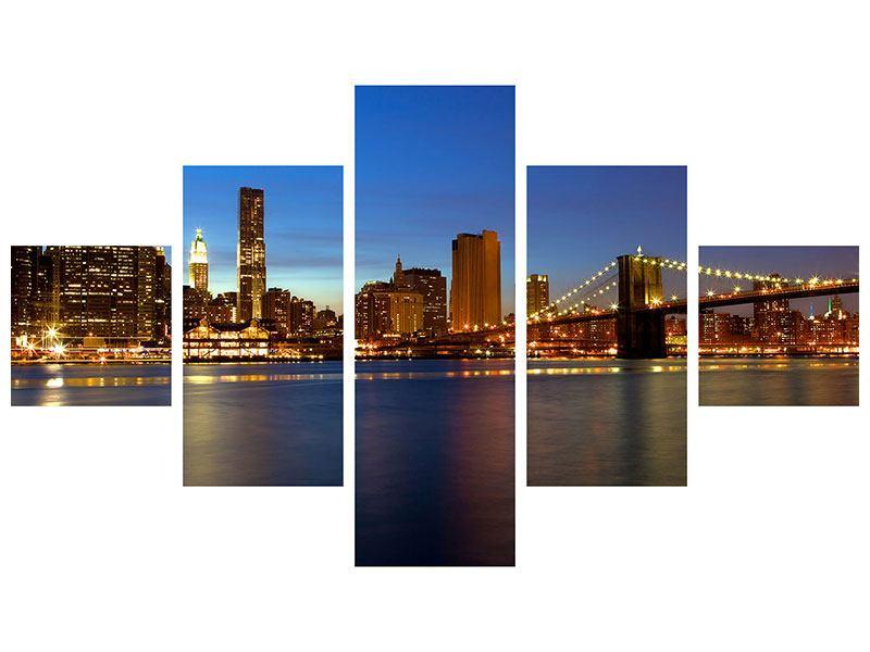 Leinwandbild 5-teilig Skyline Manhattan im Lichtermeer