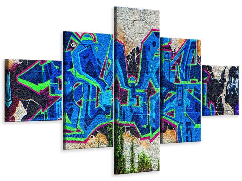 Leinwandbild 5-teilig Graffiti NYC