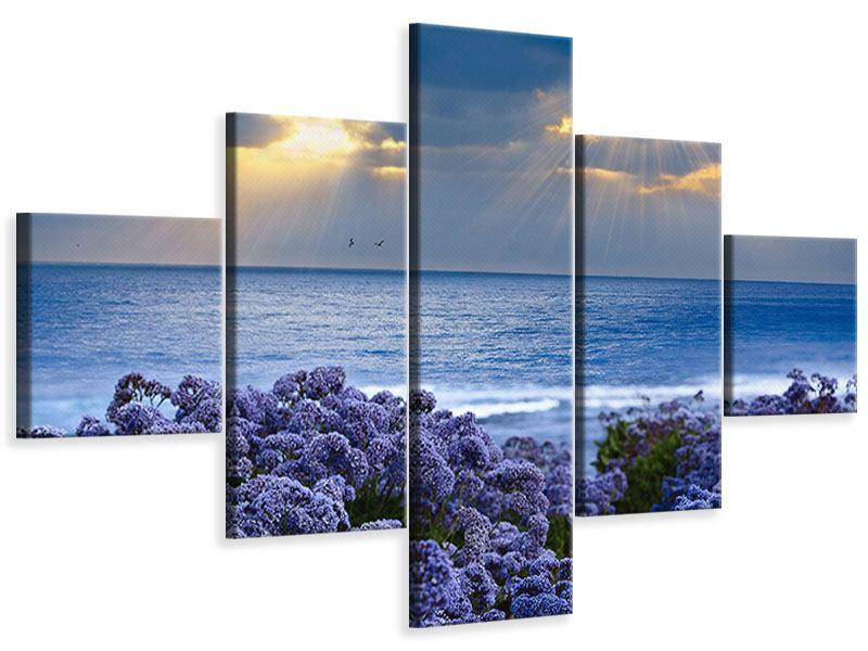 Leinwandbild 5-teilig Der Lavendel und das Meer