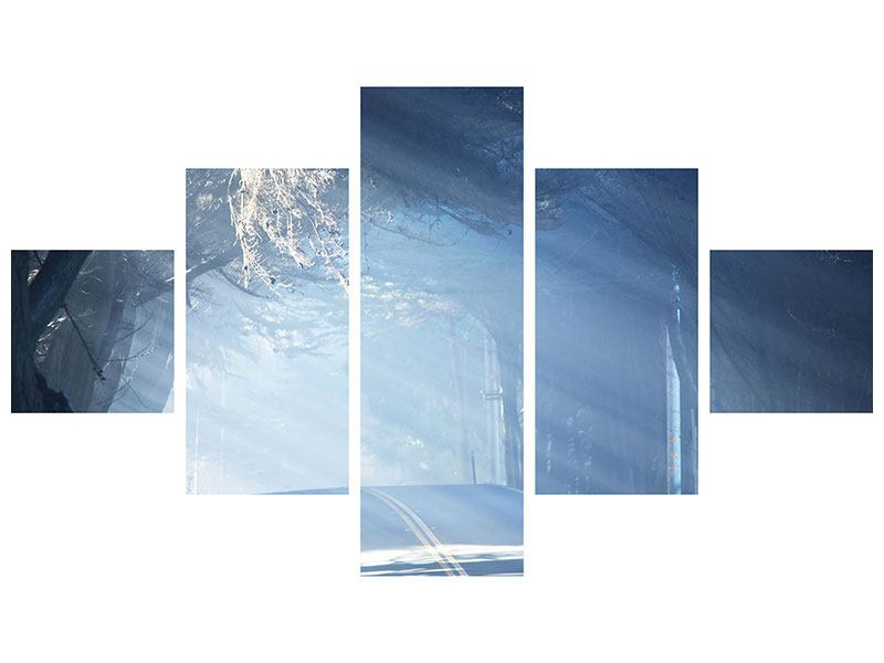 Leinwandbild 5-teilig Lichtdurchflutete Baumallee