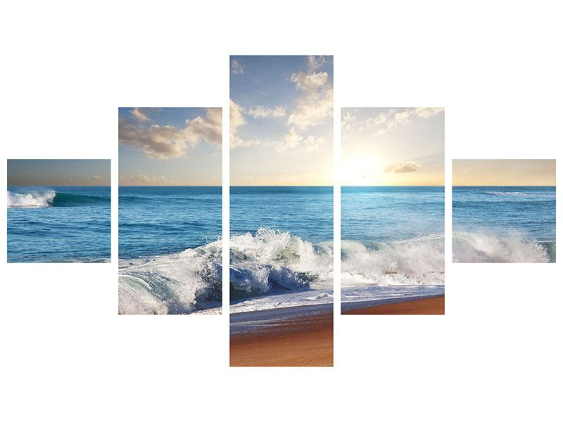 Leinwandbild 5-teilig Die Wellen des Meeres