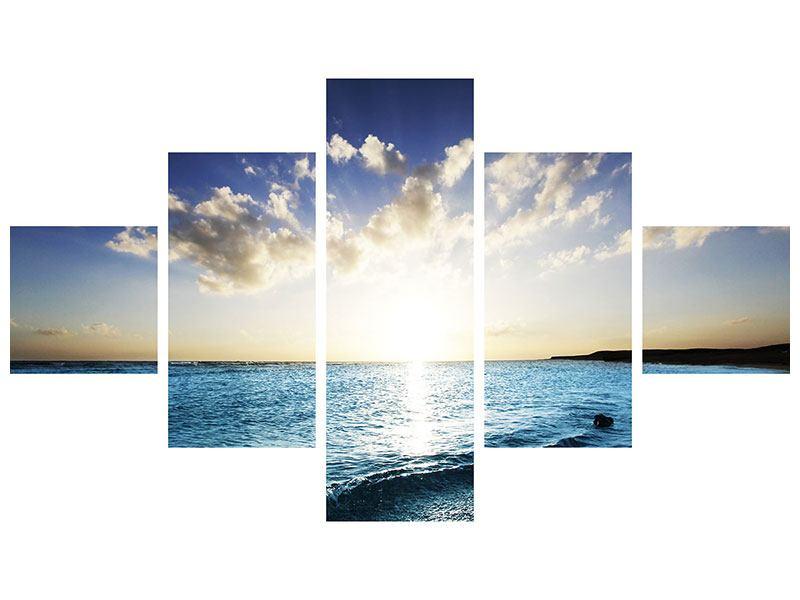 Leinwandbild 5-teilig Das Meer im Sonnenaufgang