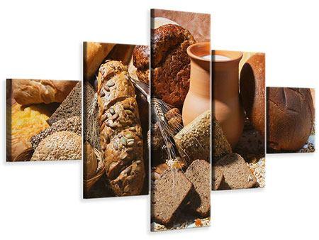 Leinwandbild 5-teilig Frühstücksbrote