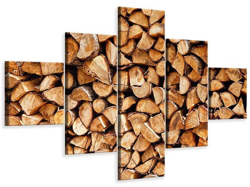 Leinwandbild 5-teilig Gestapeltes Holz