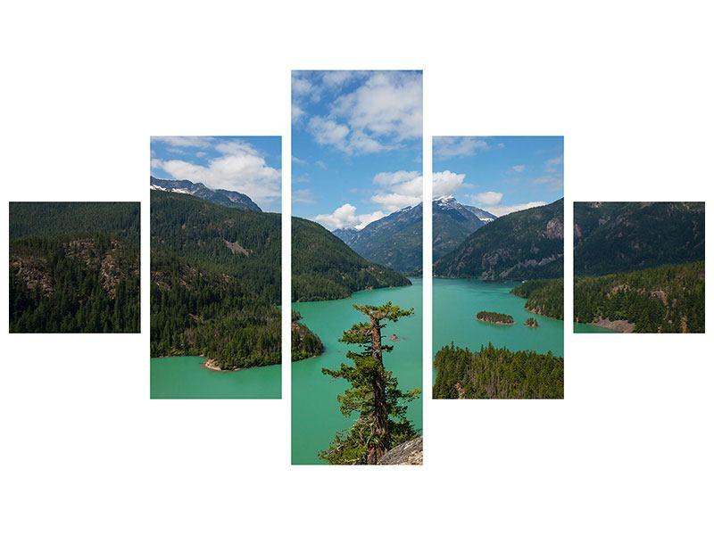 Leinwandbild 5-teilig Diablo Bergsee