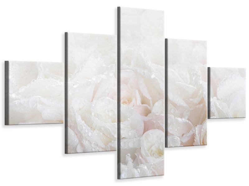 Leinwandbild 5-teilig Weisse Rosen im Morgentau