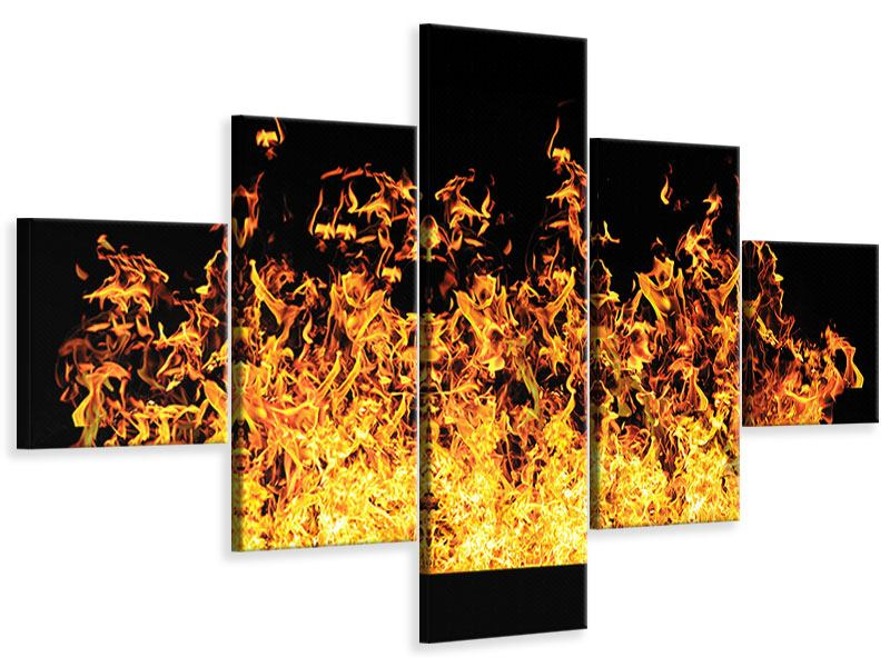 Leinwandbild 5-teilig Moderne Feuerwand