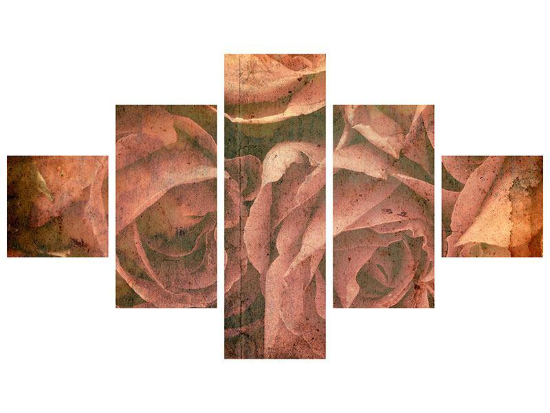 Leinwandbild 5-teilig Rosenbukett
