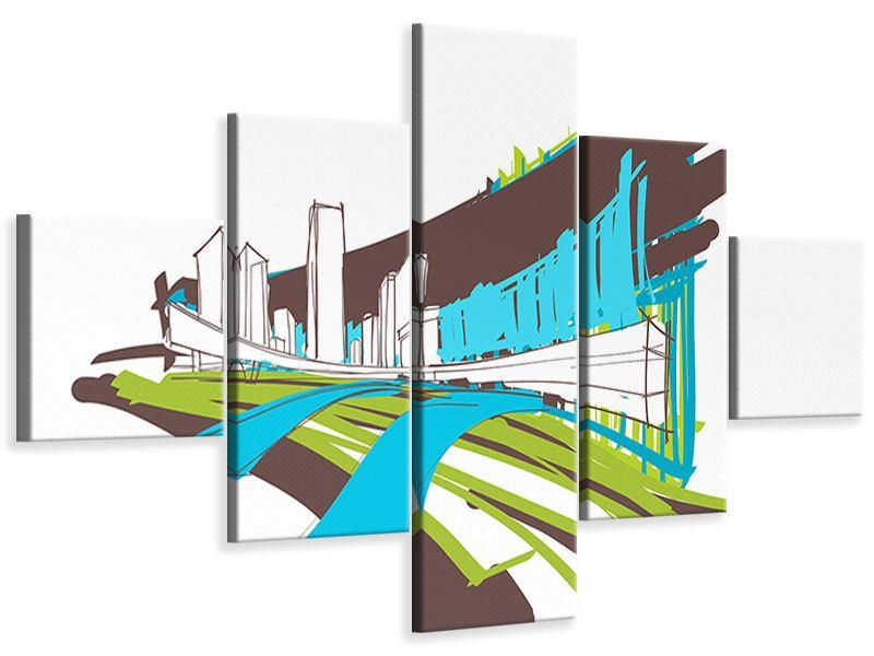 Leinwandbild 5-teilig Graffiti Street-Art