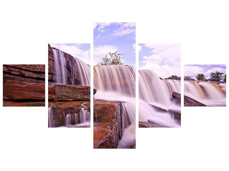 Leinwandbild 5-teilig Himmlischer Wasserfall