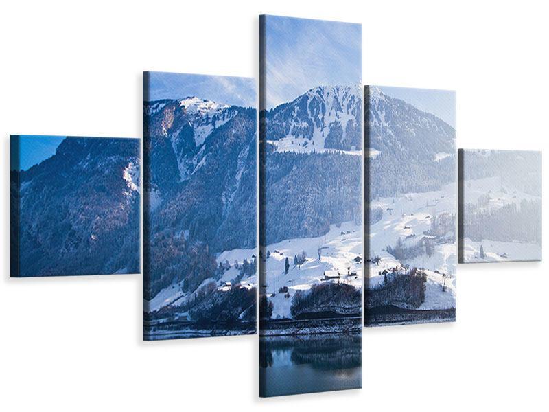 Leinwandbild 5-teilig Winterwunderland
