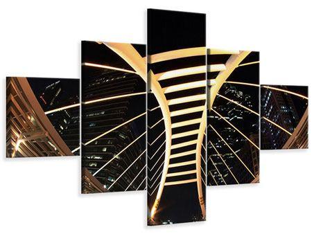 Leinwandbild 5-teilig Avantgardistische Brücke