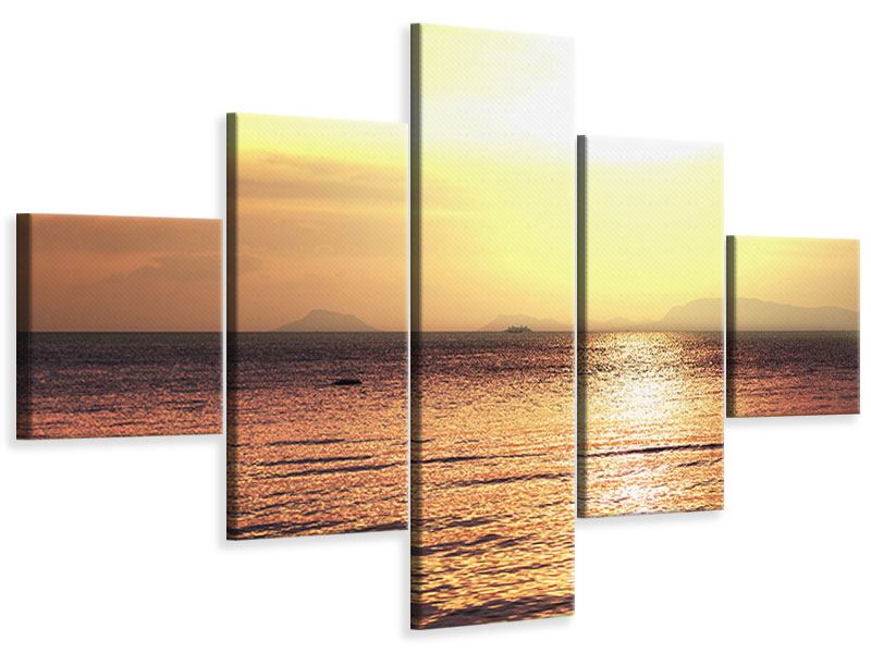 Leinwandbild 5-teilig Sonnenuntergang an der See