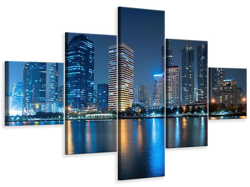 Leinwandbild 5-teilig Skyline Bangkok bei Nacht