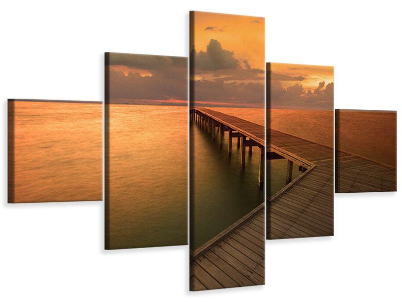 Leinwandbild 5-teilig Der Steg am Meer