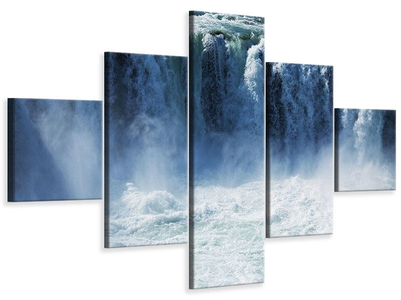 Leinwandbild 5-teilig Mächtiger Wasserfall