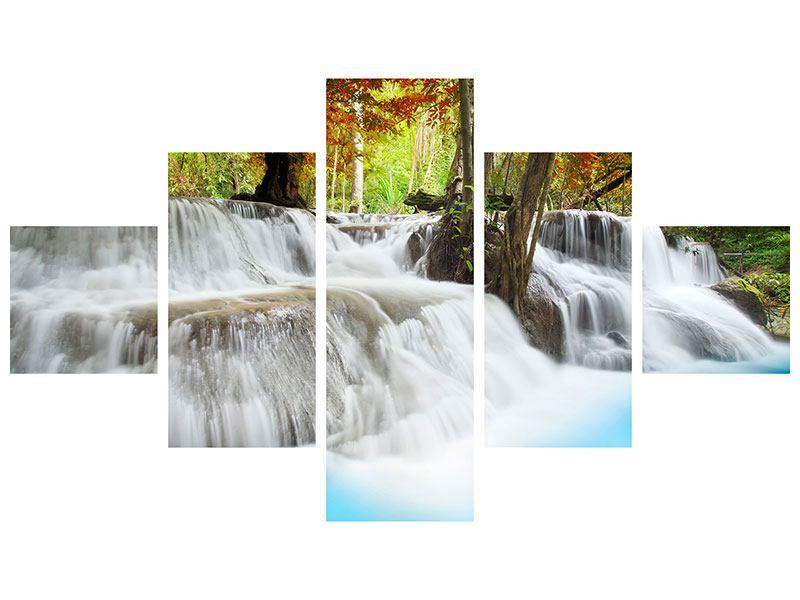 Leinwandbild 5-teilig Erawan Wasserfall