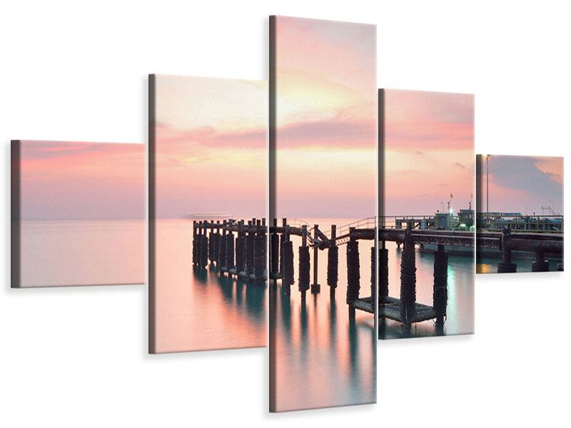 Leinwandbild 5-teilig Der beruhigende Sonnenuntergang