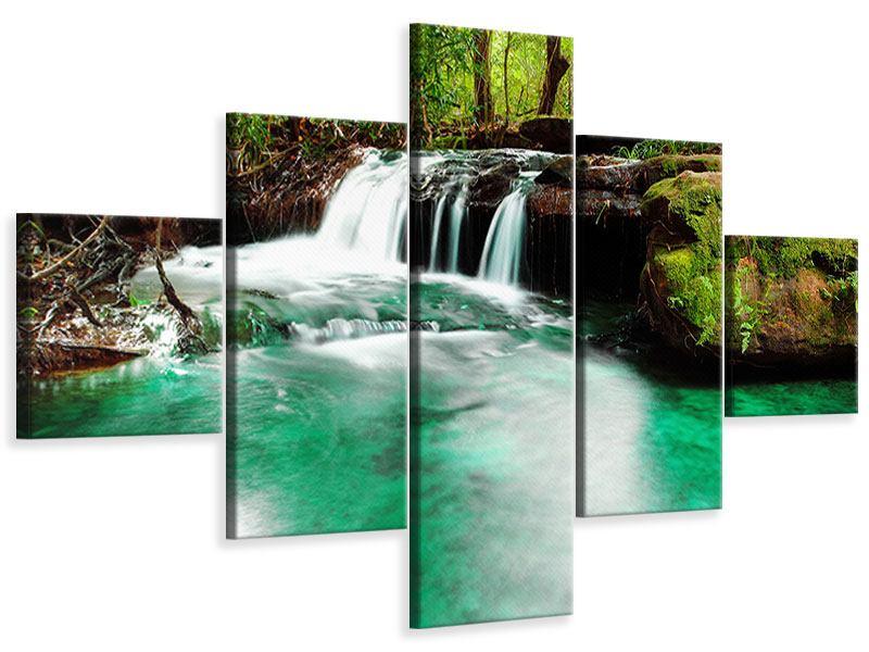 Leinwandbild 5-teilig Der Fluss am Wasserfall