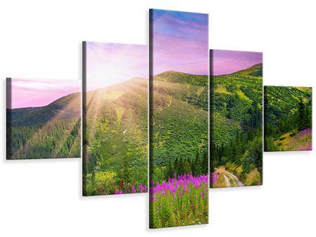 Leinwandbild 5-teilig Eine Sommerlandschaft bei Sonnenaufgang