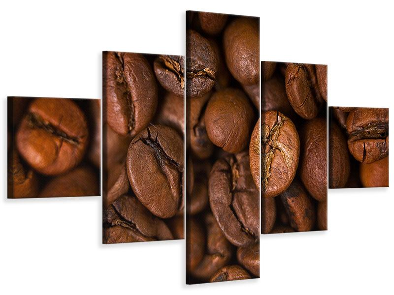Leinwandbild 5-teilig Close Up Kaffeebohnen