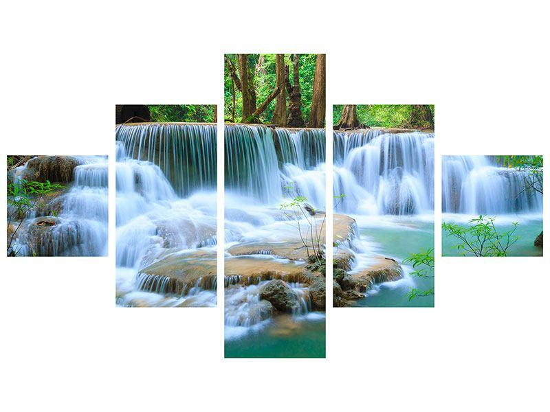Leinwandbild 5-teilig Kaskaden Huay Mae Khamin