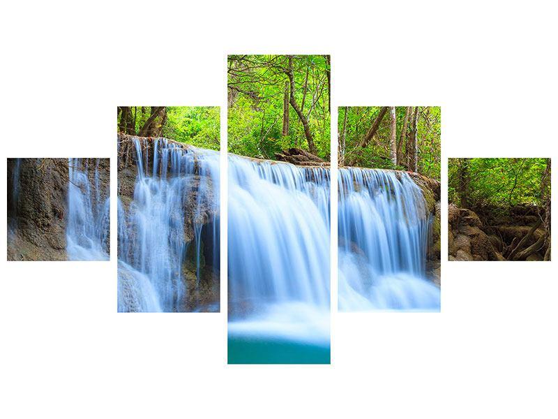 Leinwandbild 5-teilig Wasserfall Si Nakharin