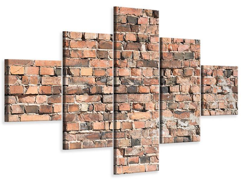 Leinwandbild 5-teilig Alte Backsteinmauer