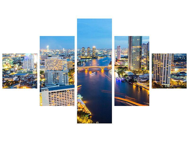 Leinwandbild 5-teilig Skyline Bangkok bei Sonnenuntergang