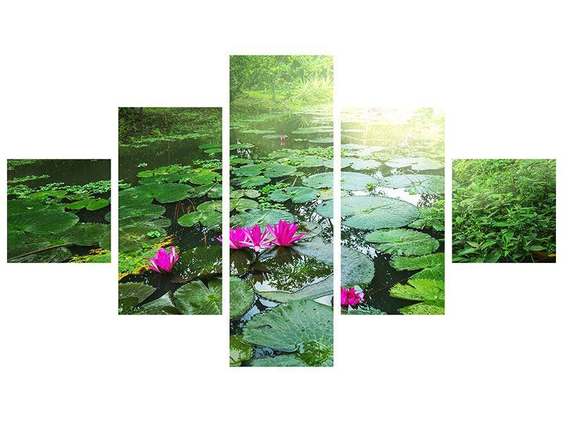 Leinwandbild 5-teilig Gartenteich