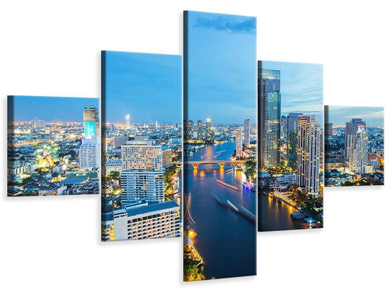 Leinwandbild 5-teilig Skyline Bangkok in der Abenddämmerung