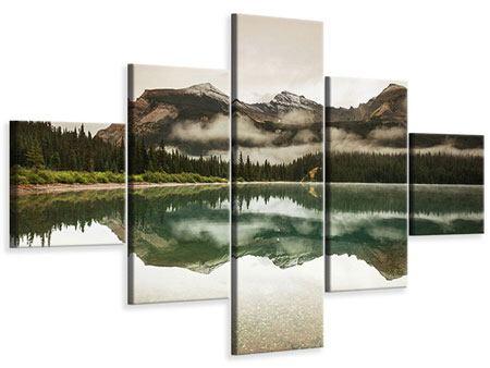 Leinwandbild 5-teilig Spiegelung im Glacier Nationalpark