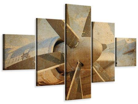 Leinwandbild 5-teilig Propellerflugzeug im Grungestil