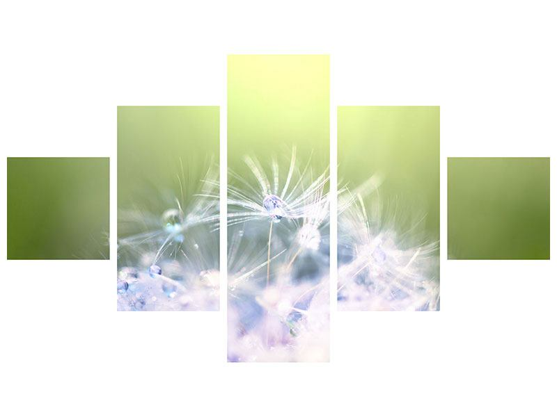 Leinwandbild 5-teilig Pusteblume XL im Morgentau