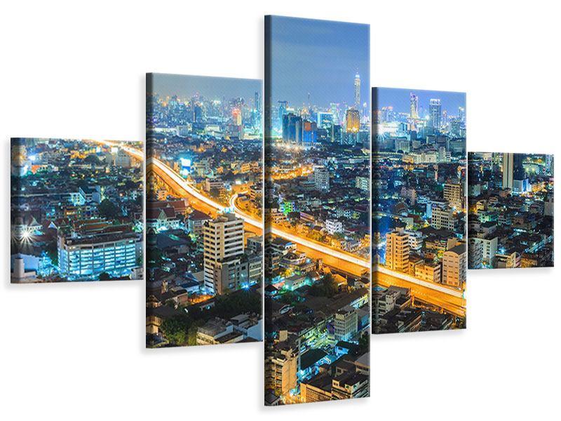 Leinwandbild 5-teilig Skyline Bangkok im Fieber der Nacht