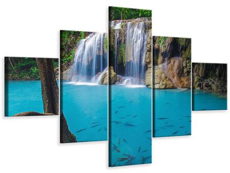 Leinwandbild 5-teilig Naturerlebnis Wasserfall
