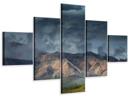 Leinwandbild 5-teilig Silberstreifen