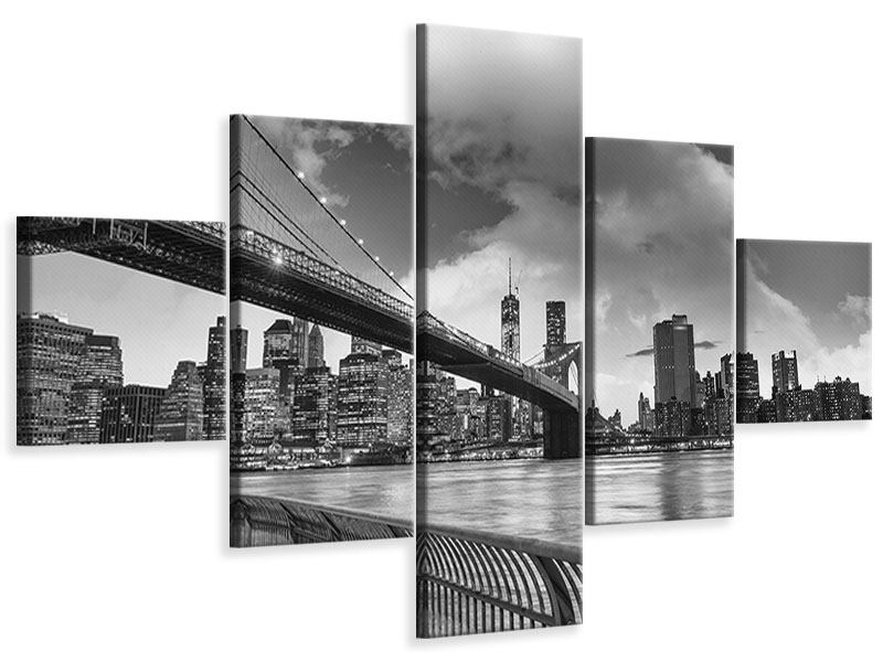 Leinwandbild 5-teilig Skyline Schwarzweissfotografie Brooklyn Bridge NY