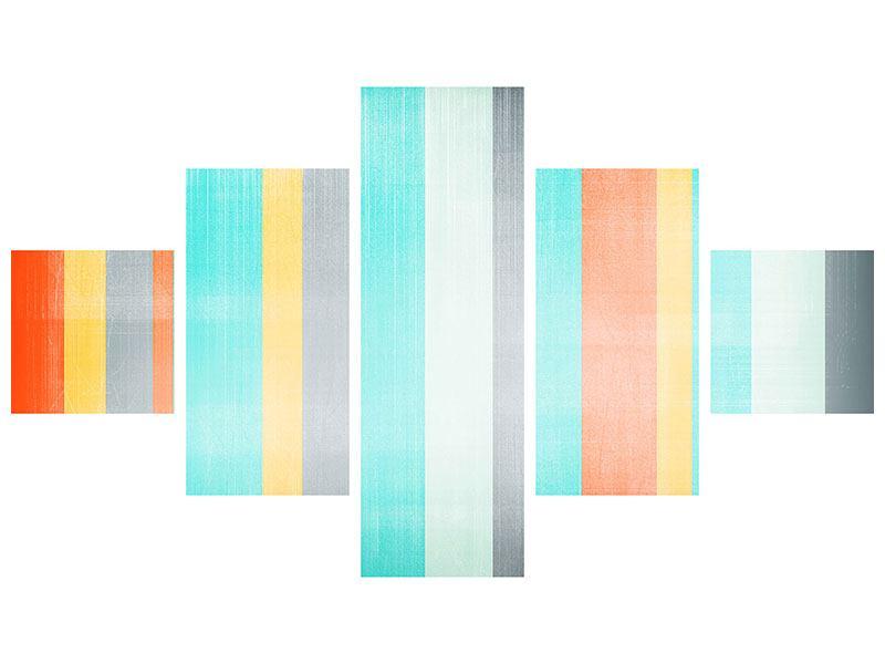 Leinwandbild 5-teilig Grunge Streifen