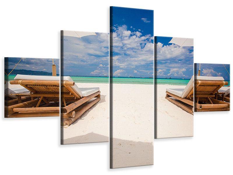 Leinwandbild 5-teilig Liegen am Strand