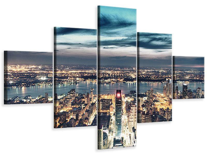 Leinwandbild 5-teilig Skyline Manhattan Citylights