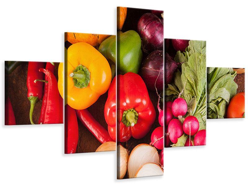 Leinwandbild 5-teilig Gemüsefrische