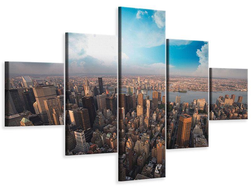 Leinwandbild 5-teilig Skyline Über den Dächern von Manhattan