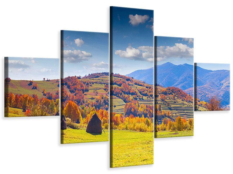 Leinwandbild 5-teilig Herbstliche Berglandschaft