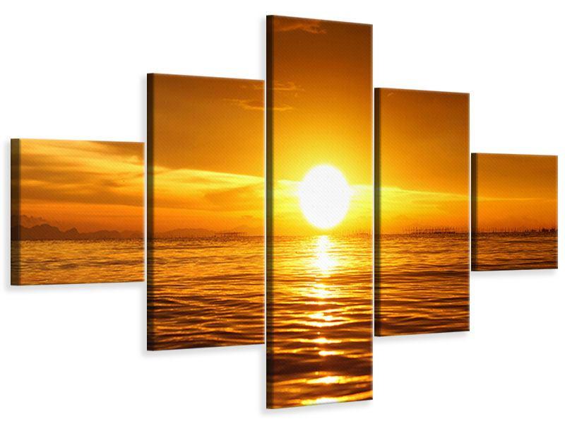 Leinwandbild 5-teilig Glühender Sonnenuntergang am Wasser