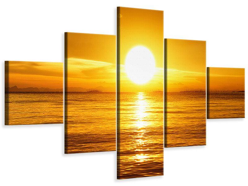 Leinwandbild 5-teilig Traumhafter Sonnenuntergang
